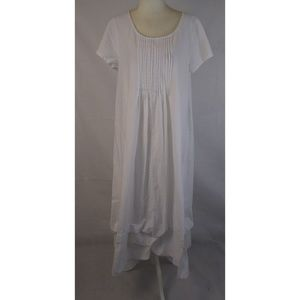 LAGENLOOK White Gathered Hem Maxi Dress XL